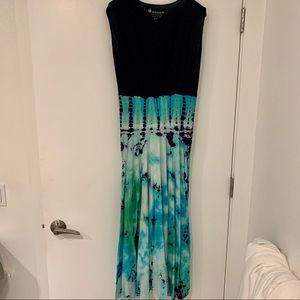 Green Apple Los Angeles Cotton Tie Dye Maxi Dress